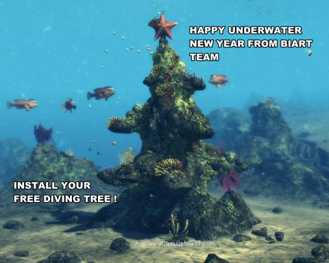Santa Fish is underwater new year screensaver